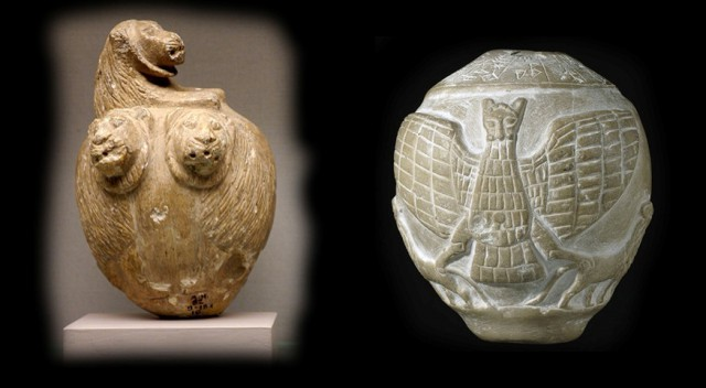 10123279 Наконечники каменных булав из шумерских городов Сиппар (слева) и Лагаш (справа). Британский музей, Лондон