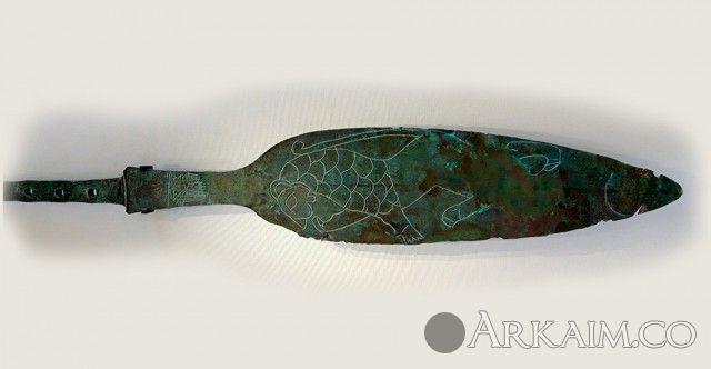 10123369 Медный наконечник копья из гробницы правителя Мескаламдуга из города Ур. Лувр, Париж