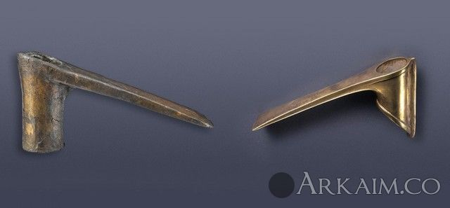 10123265 Головки шумерских бронзового и золотого боевых молотов из «Царских гробниц» Ура. Британский музей, Лондон.
